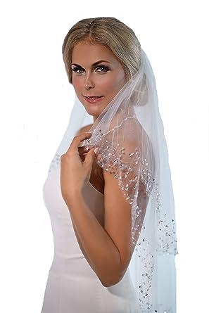 Unbekannt Schleier Brautschleier 2 Lagen mit Kamm Pailletten 2 lagig Hochzeit Braut NEU