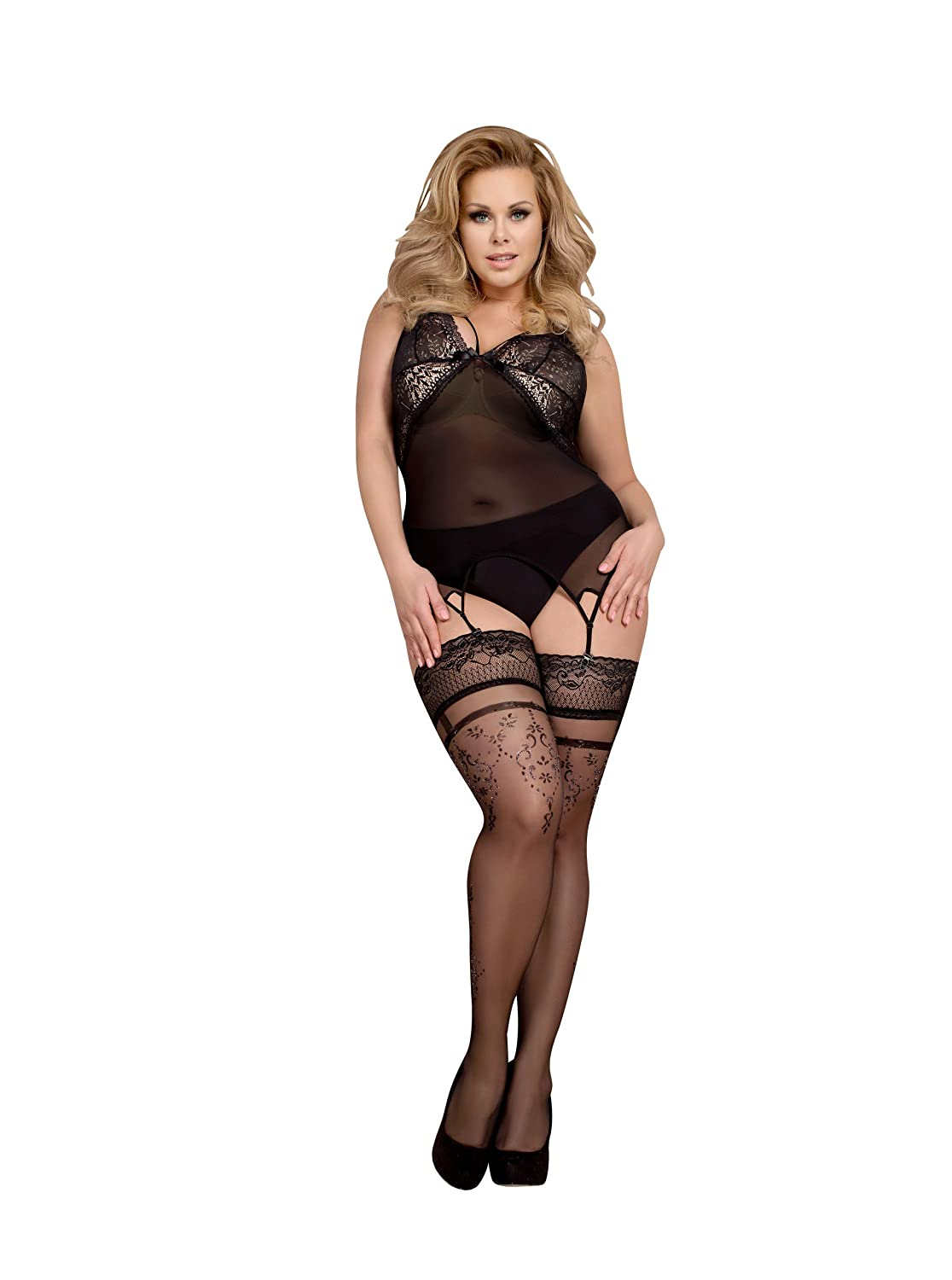 35990c8893384 Ballerina Hold Ups Stockings Plus Size Stockings Size Plus Black Silver 366  - Black -: Amazon.co.uk: Clothing