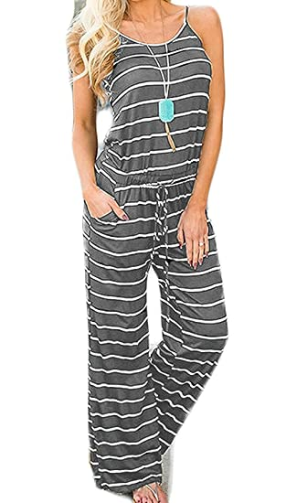 d27c6eb56799 Gembera Womens Jumpsuits Summer Floral Printed Spaghetti Strap Sleeveless Casual  Jumpsuit Rompers (DarkGreyStriped