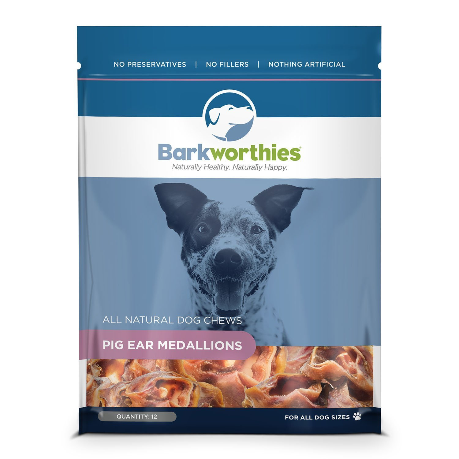 Barkworthies 12-Piece Pork Ear Medallions Treat