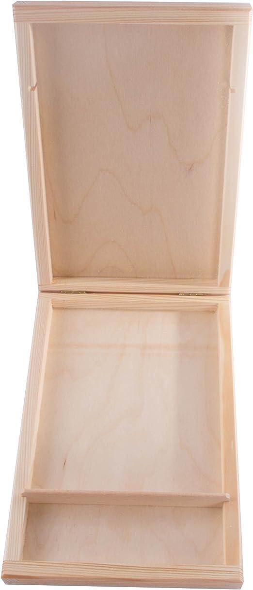 SearchBox Madera CD Caja de Almacenamiento con Tapa/sin Pintar/Apto para 1 CD y Pendrive/21,5 x 14,5 x 2,8 cm: Amazon.es: Hogar