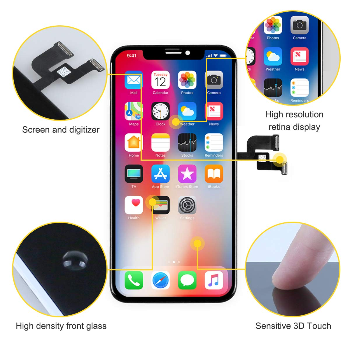 bokman LCD Pantalla para iPhone XR T/áctil LCD Reemplazo con Herramientas de Reparaci/ón