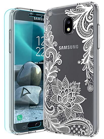 Galaxy J7 2018 Case,Galaxy J7 Aero/J7 Top/J7 Aura/J7 Crown with HD Screen  Protector Huness TPU Grip Bumper and Clear Flower Transparent PC Backplate