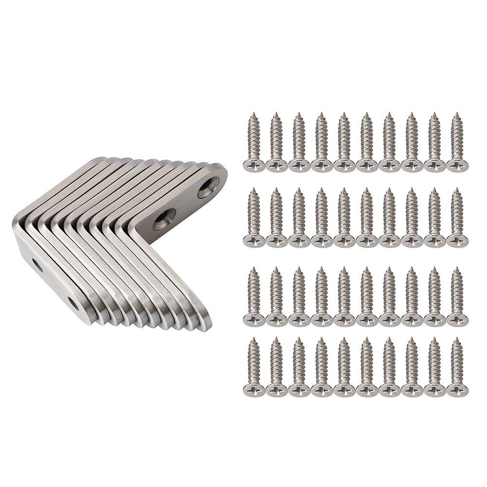 Alise 25 Pcs Stainless Steel Shelf Bracket Corner Brace Joint Angle Brackets Support Wall Hanging 30X30mm,Brushed Nickel J3205-25P
