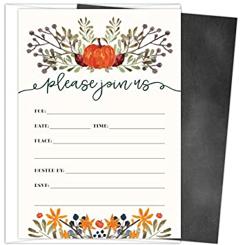 Amazon rustic fall invitations in autumn colors with pumpkin rustic fall invitations in autumn colors with pumpkin and florals 25 fill in style cards filmwisefo