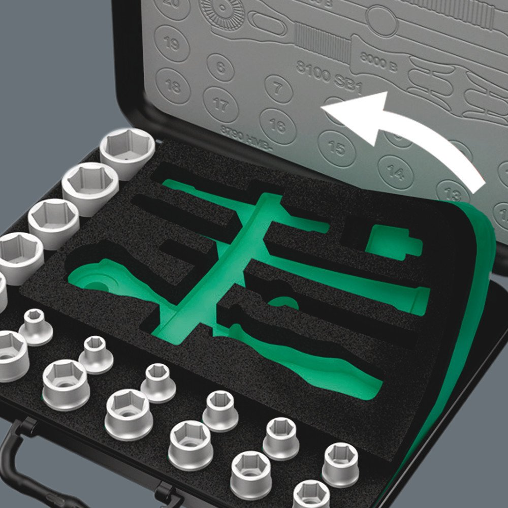 1//2-Inch Drive Metric Wera Zyklop 8100 SC 2 37 Piece Ratchet Set