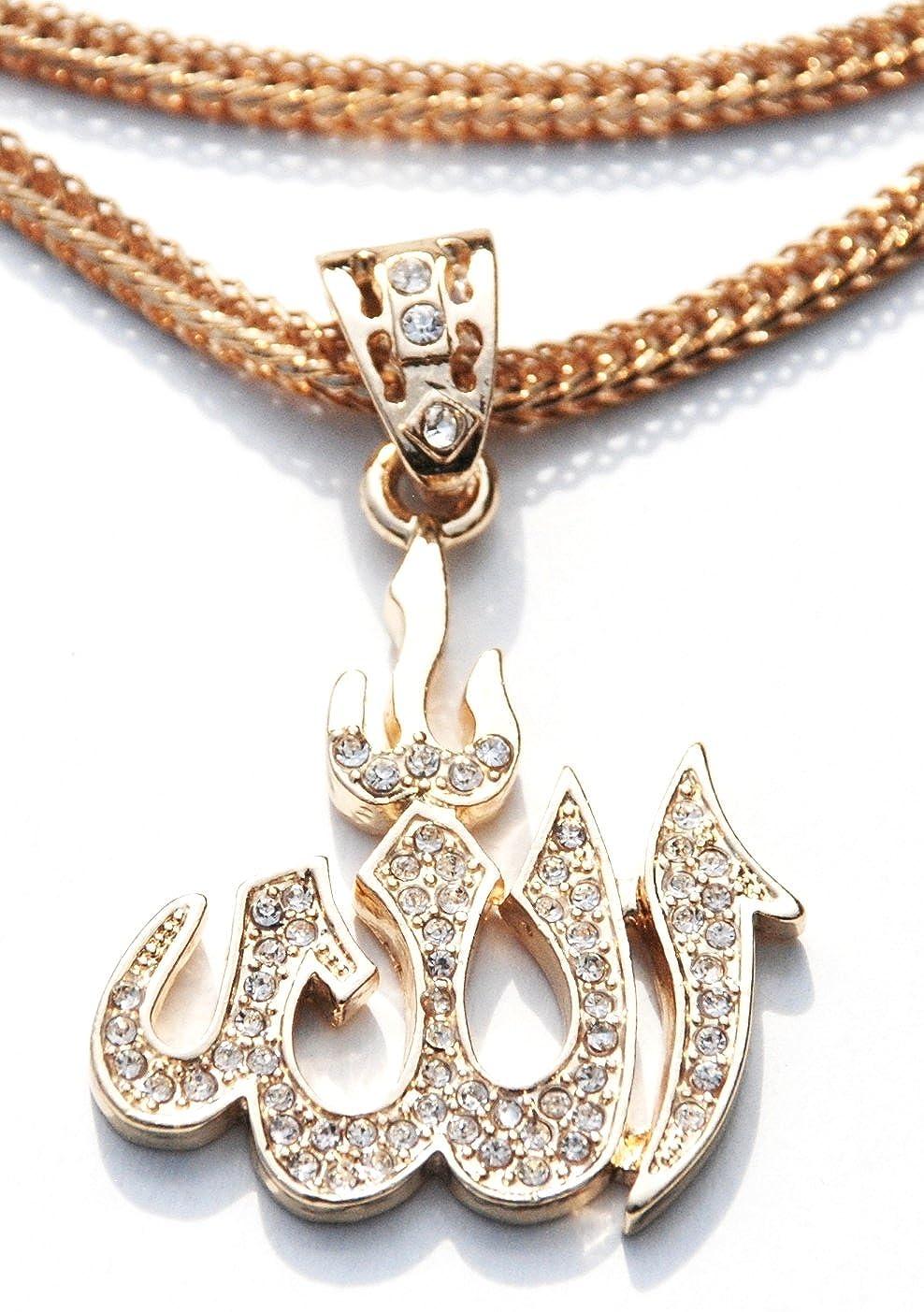 Muslim Jewelry Beautiful Shiny Gold Allah Pendant With Rhinestones On Gold 24-ich Chain