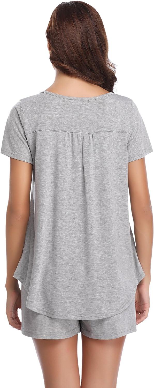 Hawiton Donna Tuta Estiva Set Pigiama da Notte in Cotone Due Pezzi T-Shirt Tops Pantaloni Corti Completino Casual per Casa Mare