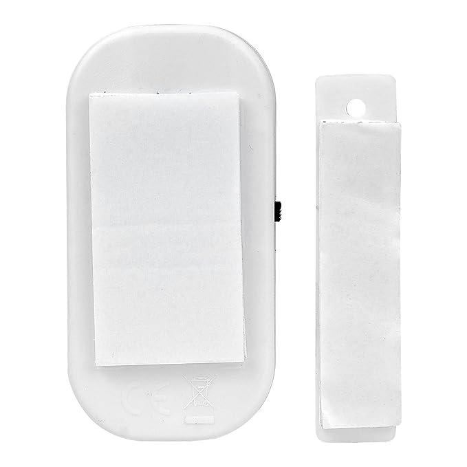 Juego de 8 detectores magnéticos de seguridad para puerta y ventana, minialarmas inalámbricas con sensor de entrada de infrarrojos, color blanco (batería ...
