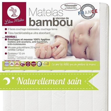 Lilou Miaka Colchones Bambú viscosa – Sobre Y Espuma 100% Salud – 70 x 140