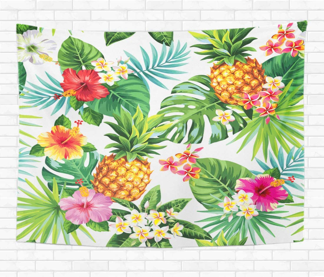 Topyee 60×80 Inch Tapestry Wall Hanging Tropical Pattern with Pineapples Palm Leaves and Flowers Home Decorative Tapestries Wall Blanket for Dorm Living Room Bedroom