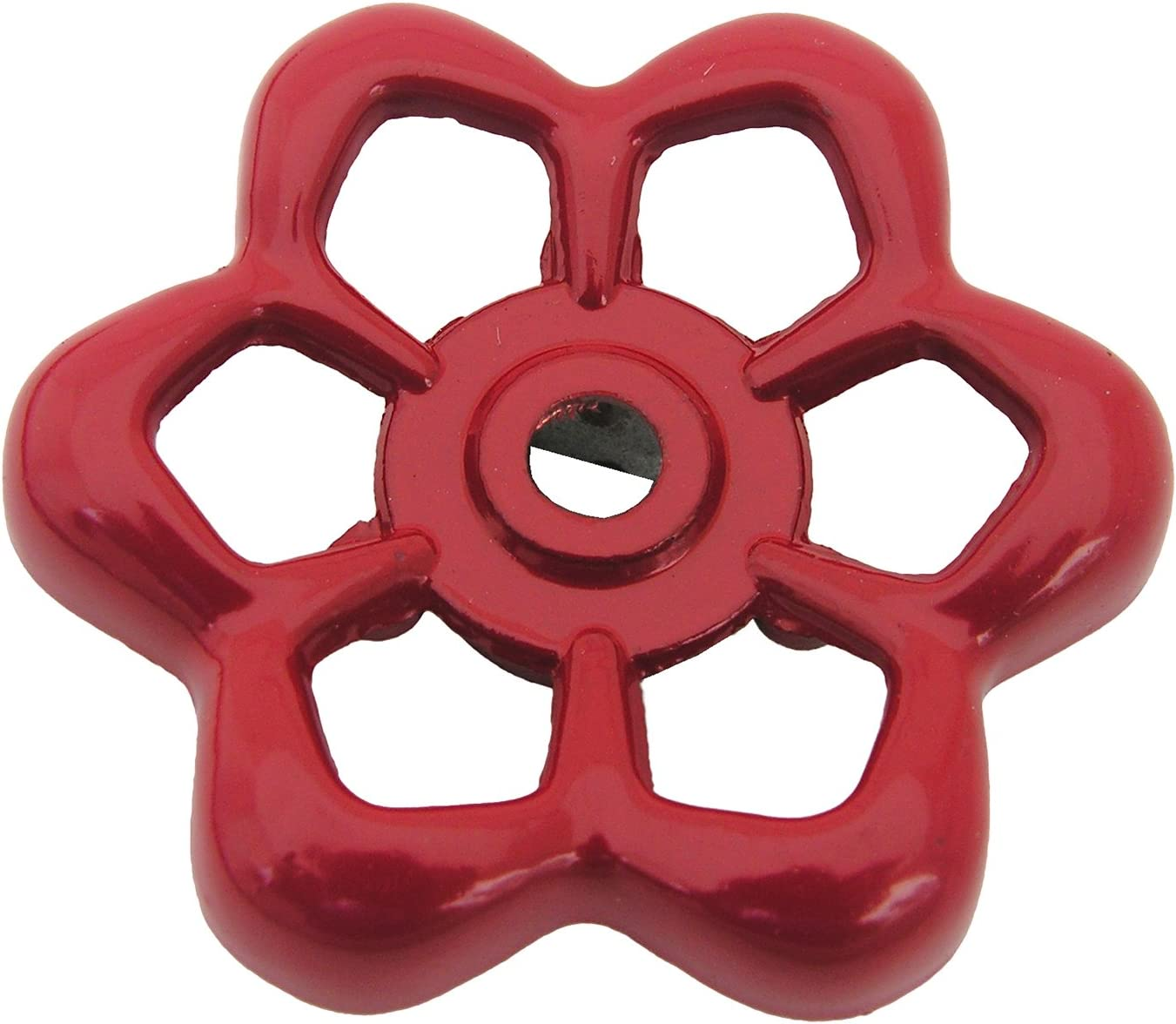 """LASCO 01-5131 Square Broach Metal Outside Faucet Hose Bibb Replacement Round Wheel Handle, 1-7/8"""", Red"""