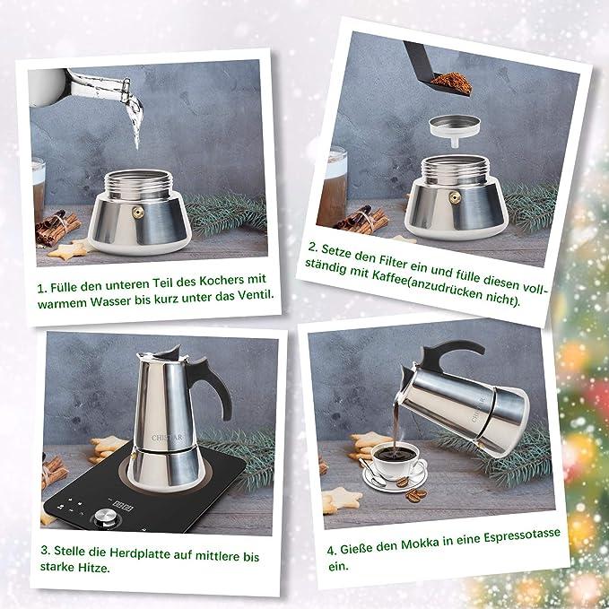 CHISTAR Cafetera Italiana, Cafetera Espresso induccion en Acero ...