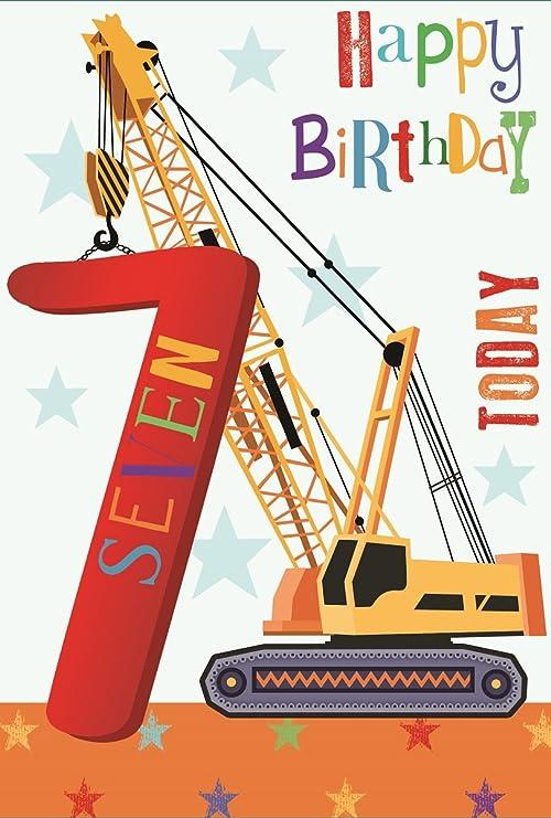 carte anniversaire 7 ans garçon Amazon.com: Greetings Age 7 Boy Birthday Card   Big Yellow Crane