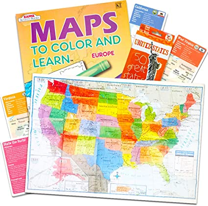 Amazon.com: World US Maps for Kids ~ USA Map Poster, Europe ... on georgia map, canadian province map, connecticut map, canada map, oklahoma map, missouri map, michigan map, texas map, indiana map, oregon map, virginia map, north carolina map, california map, tennessee map, louisiana map, delaware map, arkansas map, arizona map, ohio map, europe map,