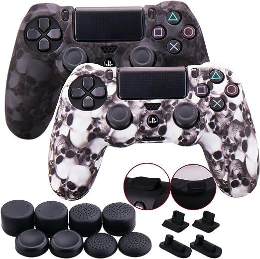 Housse Coque Peau cas de protection silicone gris-blanc Cover pour Sony PS4