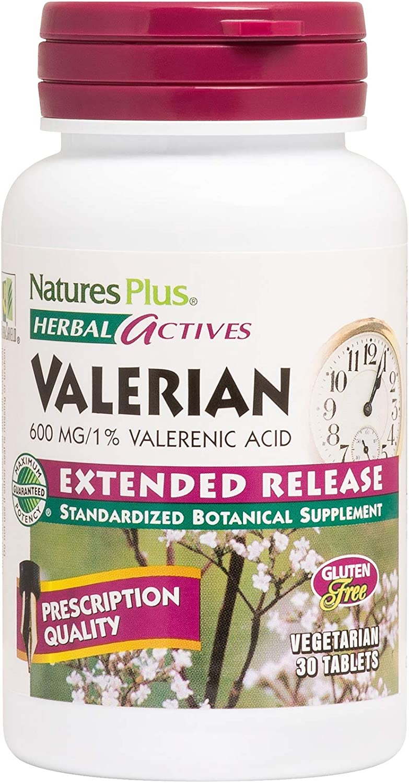 NaturesPlus Herbal Actives Valerian Extended Release Tablets - 600 mg, 30 Vegan Tablets - Natural Sleep Support Supplement - Vegetarian, Gluten-Free - 30 Servings