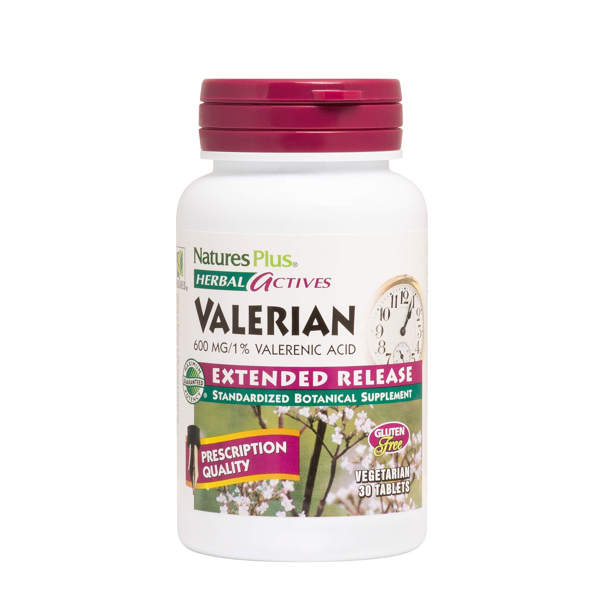 NaturesPlus Herbal Actives Valerian Extended Release Tablets - 600 mg, 30 Vegan Tablets - Natural Sleep Support Supplement - Vegetarian, Gluten-Free - 30 Servings by Nature's Plus