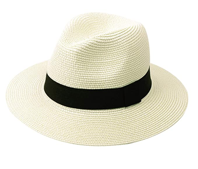 Lanzom Women Wide Brim Straw Panama Roll up Hat Fedora Beach Sun Hat UPF50+  (A 4f1eecc9fcc