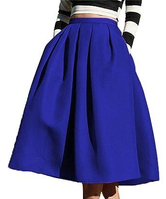 f534c02337 Face N Face Women's High Waisted A line Street Skirt Skater Pleated Full  Midi Skirt X