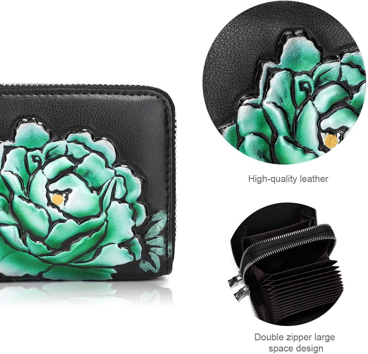 3257-BLACK YOVIEE RFID Wallets for Women Business Credit Card Case Money Organizer Purse Double Zipper