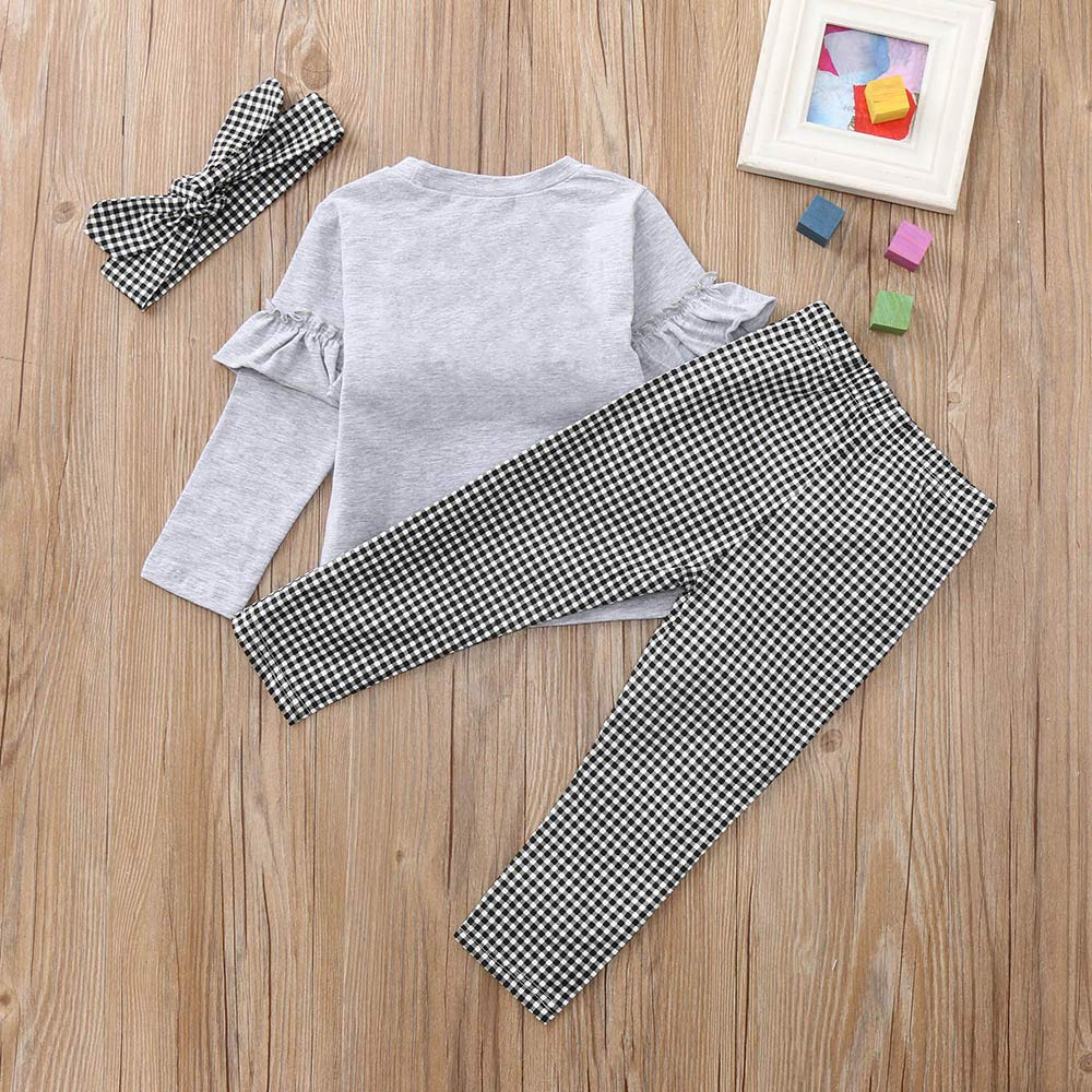 WARMSHOP NO Shipping,3 PC Kids Baby Girl Ruched Long Sleeve Solid T-Shirt Tops+Plaid Pants+Headband Outfit Clothes Sets