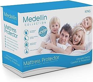 Medellin Collection Premium Hypoallergenic Waterproof King Mattress Protector - Vinyl Free