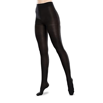 Ease Microfiber 20-30mmHg Moderate Compression Support Tights (Black, Medium Long): Health & Personal Care