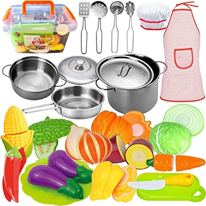 Amazon Com Funerica Kids Kitchen Accessories Set 35 Piece Cooking Toys Set With Stainless Steel Play Pots And Pans Kitchen Utensils Cutting Vegetables Knife Apron Chef Hat And Storage Container Toys Games