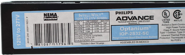 32 Watt F32T8 Lamp Electronic Fluorescent Ballast 120-277 Volt Optanium Philips Advance IOPA2P32LWN35I 2