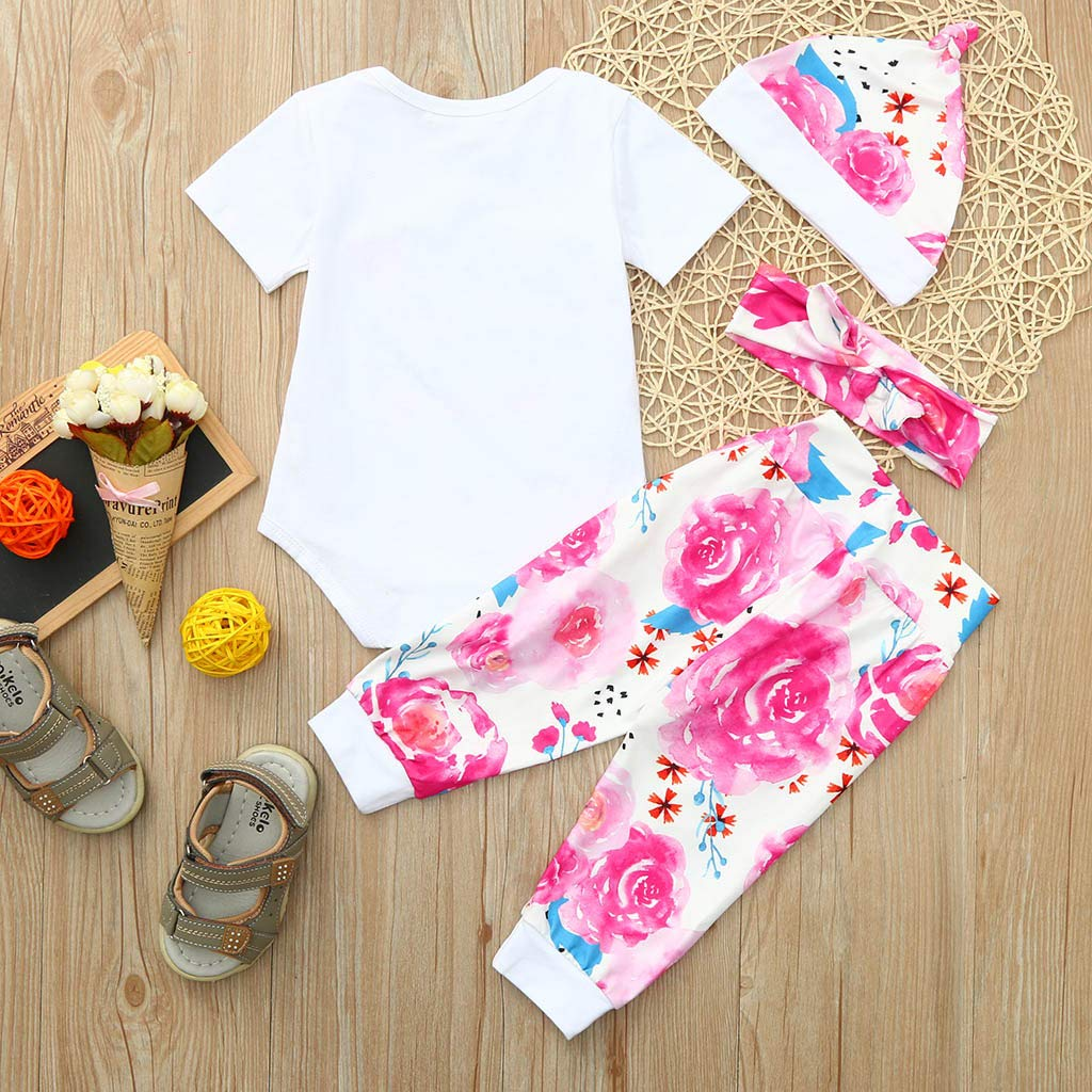 Gornorriss Baby Rompers Infant Girl Letter Print Jumpsuit Romper+Pants+Hat+Headbands Outfits