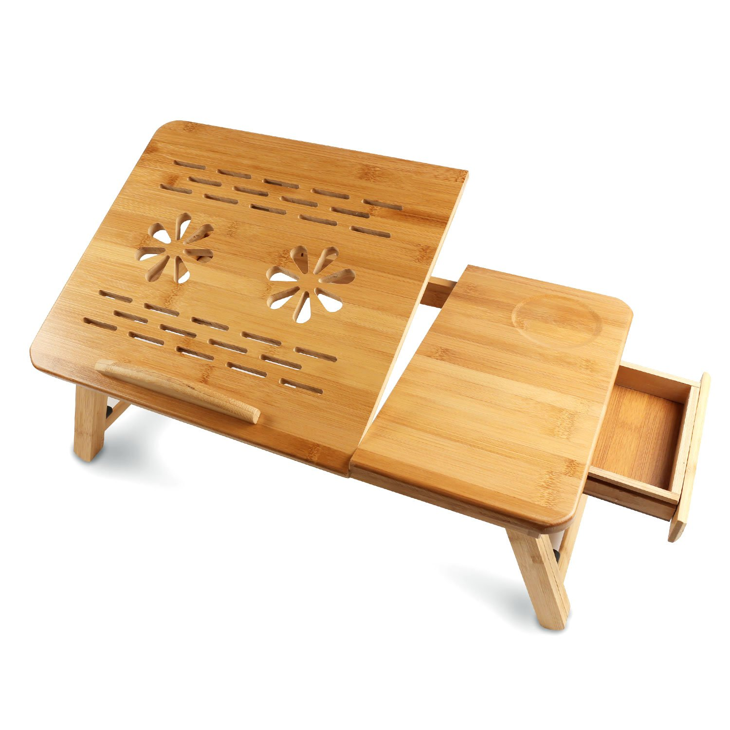 Bamboo Laptop Desk - HENGSHENG Foldable Bed Table Adjustable Breakfast Serving Bed Tray with Tilting Top Drawer (Natural)