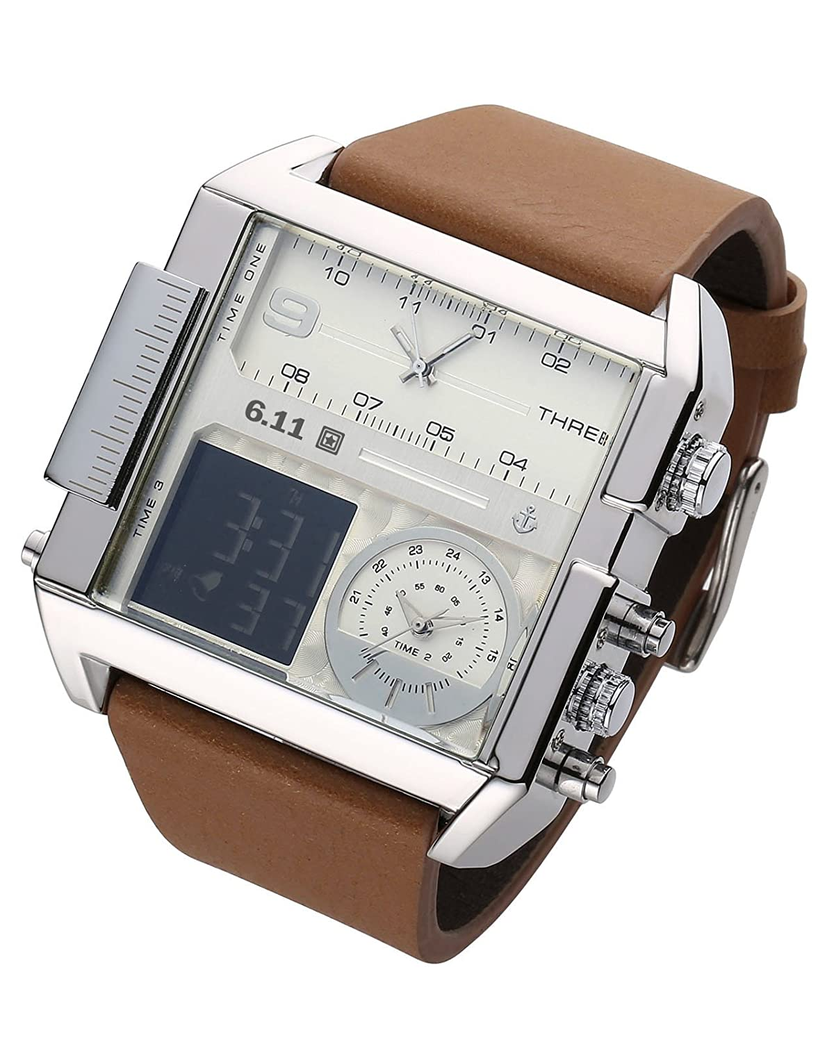 0571b39abc9 Amazon.com  Square Men Watch Multiple Time Zone Quartz Watches Mens Leather  Led Wristwatch Waterproof Relogio Masculino (Silver)  Cell Phones    Accessories