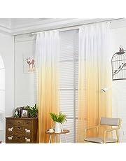 laami 1Pc Voile Cortina Translúcidas Visillos Cortas de Gradiente Color Decoración para Ventanas Habitaciones Dormitorios Salones