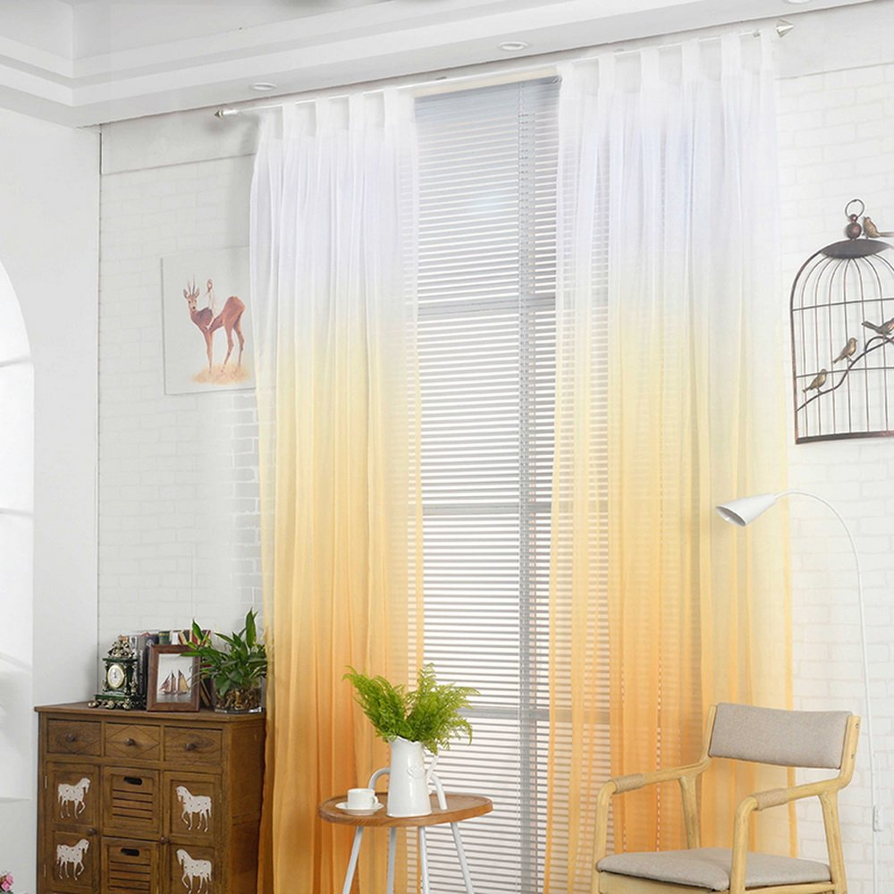 laami 1Pc Voile Cortina Transl/úcidas Visillos Cortas de Gradiente Color Decoraci/ón para Ventanas Habitaciones Dormitorios Salones 160x107cm