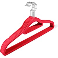 Flexzion Velvet Hanger 10 Pack - Non Slip Dress Hanger with Accessory Bar Space Saving, Strong and Durable with 360…
