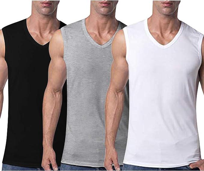 Coofandy - Pack de 3 Camisetas de Tirantes para Hombre con Cuello en V Mezcla S/Gris/W. XL: Amazon.es: Ropa y accesorios