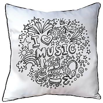 Kissen zum Ausmalen für Kinder, I love Music. (permanente ...