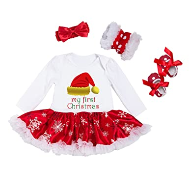 a2e287171c9 BabyPreg Infant Baby Girl My First Christmas Outfits Romper Tutu Dress with  Headband Shoes (Hat