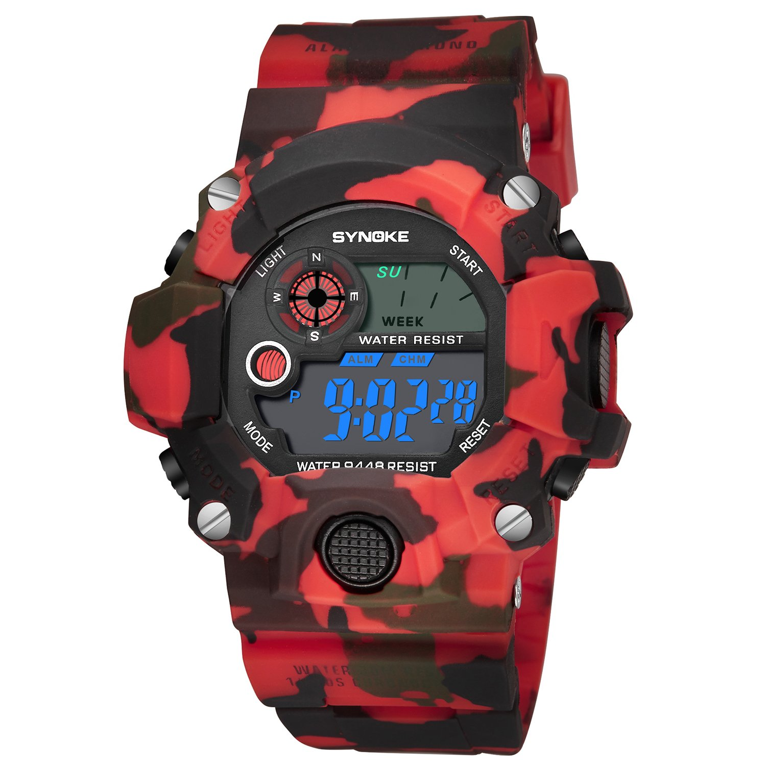 Children's Cool Camouflage Analog Fashion Sport Watches Quartz Wrist Watches Red by SHELI
