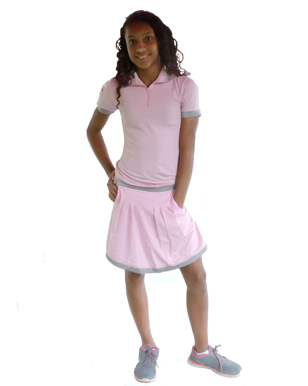 Sephlin - Lady Natalia Junior Girls Pink and Silver Pleats Skort 0523