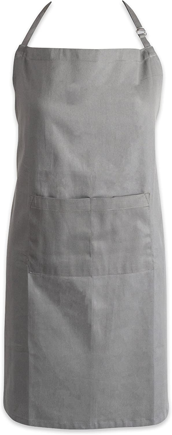 DII Adjustable Neck & Waist Ties with Front Pocket Chino Chef Collection, Plus Size Apron, Gray