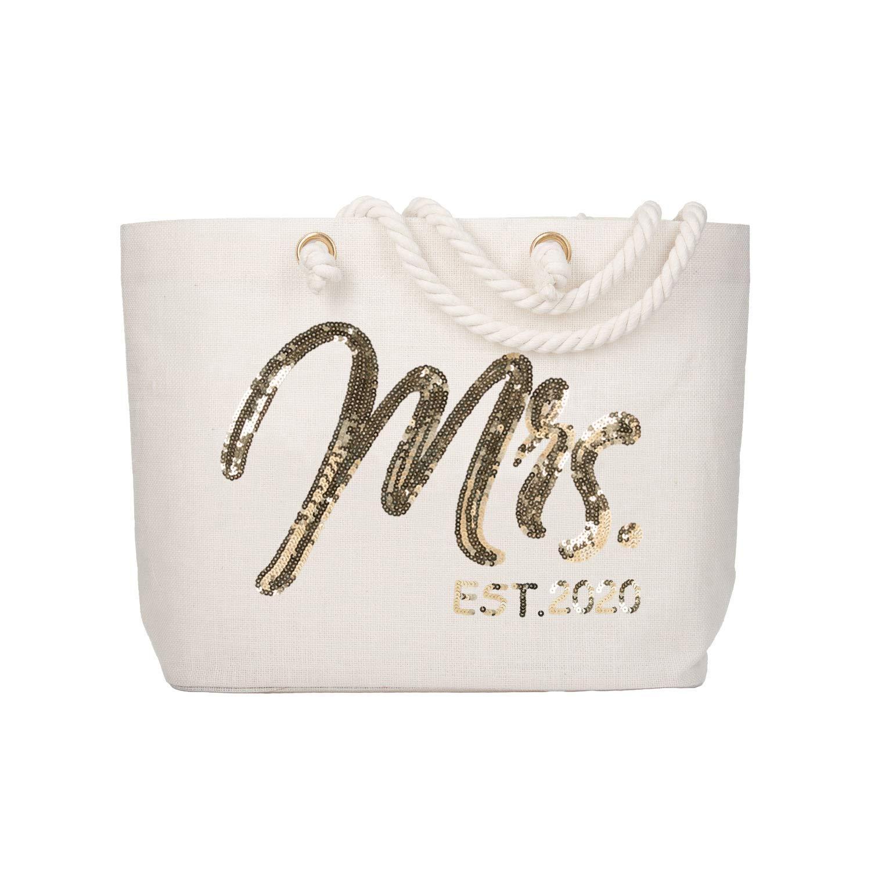 ElegantPark Future Mrs. EST. 2020 Large Bride Tote Bag Personalized Wedding Bachelorette Bridal Shower Gifts Shoulder Bag Gold Sequin with Interior Pocket Jute