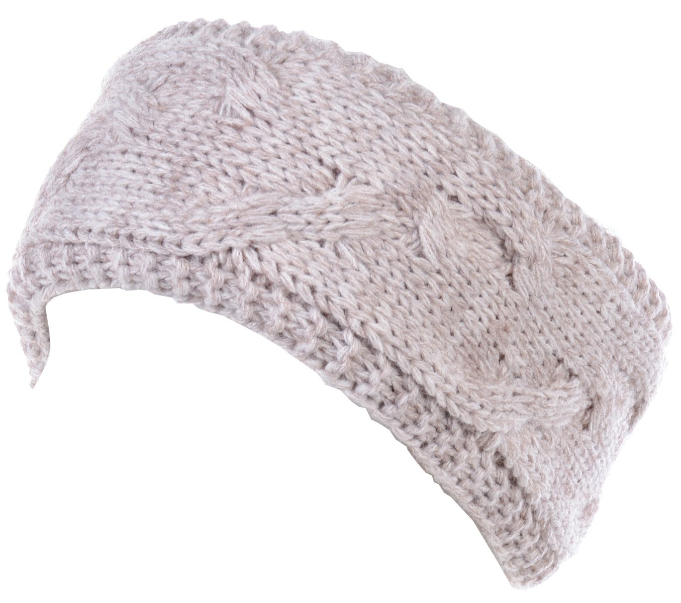 BYOS Winter Cozy Plush Faux Fur Fleece Lined Knitted Headband Wrap Ear Warmer,Various Patterns (Cable Knit Oatmeal)