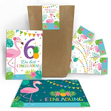 Junaversum 12 Einladungskarten 6 Geburtstag Kinder Mädchen Flamingo