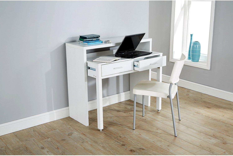 Value Furniture Regis Blanco Mesa Consola Extensible Escritorio ...