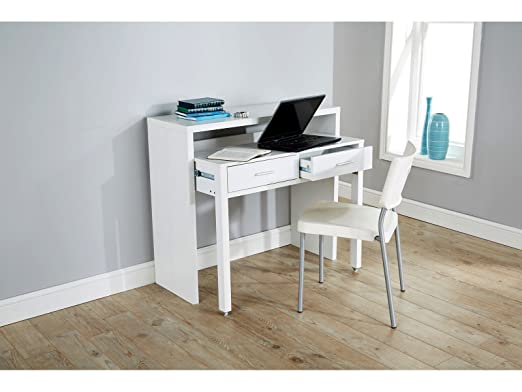 Value Furniture Regis Blanco Mesa Consola Extensible Escritorio ...