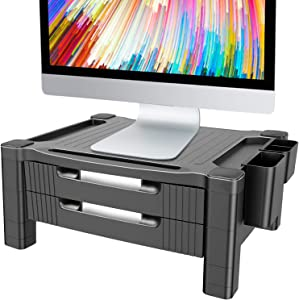 Monitor Stand Riser with 2 Drawers - Adjustable Monitor for Computer, Laptop, Printer with Organizer Drawer, Office Supply Caddy & Cable Management Slot by HUANUO