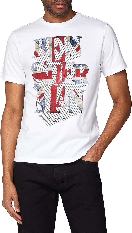 Ben Sherman - Camiseta de manga corta para hombre, diseño de bandera de Reino Unido, color blanco Blanco blanco S: Amazon.es: Ropa y accesorios