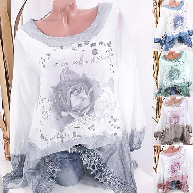 Tops de Tallas Grandes para Mujer Manga Larga con Estampado de Encaje Blusa de Moda Pull-Over Tops Camisa ❤ Manadlian: Amazon.es: Ropa y accesorios